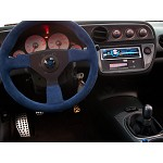 Personal Steering Wheel - Neo Grinta 330mm Blue Suede w/ Black Spoke Black Stitch & Blue Horn Button