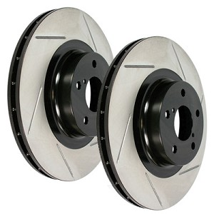 STOPTECH Power Slot Slotted Rotors - 2008-12 Mitsubishi Lancer Evo X (Rear Pair)